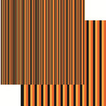 Reminisce - Halloween Collection - 12 x 12 Double Sided Paper - Halloween Stripe