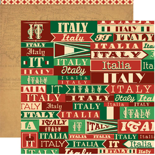 Reminisce - Travelogue Collection - 12 x 12 Double Sided Paper - Italy