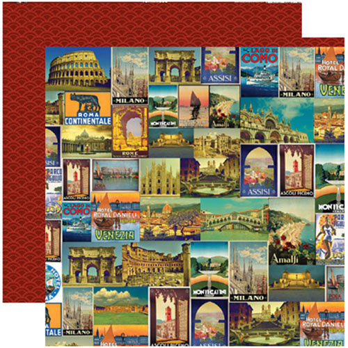 Reminisce - Travelogue Collection - 12 x 12 Double Sided Paper - Viva Italia