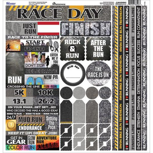 Reminisce - The Running Collection - 12 x 12 Cardstock Stickers - Multi