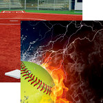 Reminisce - Softball 2 Collection - 12 x 12 Double Sided Paper - Ice and Fire