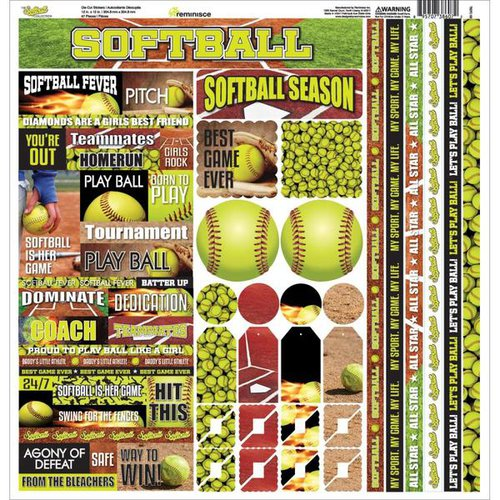Reminisce - The Softball Collection - 12 x 12 Cardstock Stickers - Multi