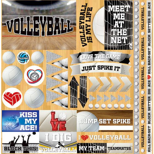 Reminisce - Volleyball 2 Collection - 12 x 12 Cardstock Stickers - Elements