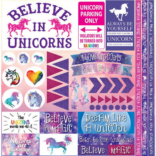 Reminisce - Unicorn Magic Collection - 12 x 12 Cardstock Stickers - Elements