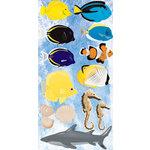 Reminisce - Under The Sea Collection - Seaworld - Chipboard Glitter Stickers - Saltwater Fish