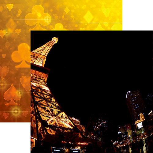Reminisce - Vegas Collection - 12 x 12 Double Sided Paper - Las Vegas Eiffel Tower