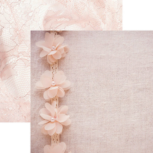 Reminisce - Vintage Lace Collection - 12 x 12 Double Sided Paper - Lace and Flowers