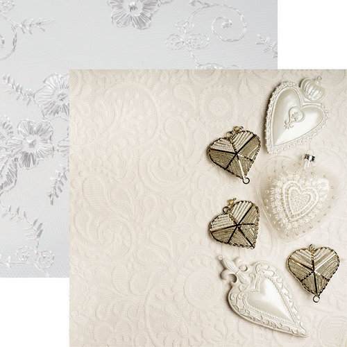 Reminisce - Vintage Lace Collection - 12 x 12 Double Sided Paper - Lace and Hearts