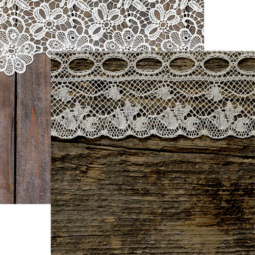 Reminisce - Vintage Lace Collection - 12 x 12 Double Sided Paper - Lace and Wood Too