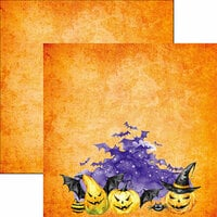 Reminisce - Watercolor Halloween Collection - 12 x 12 Double Sided Paper - Halloween Night