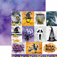 Reminisce - Watercolor Halloween Collection - 12 x 12 Double Sided Paper - Halloween Full