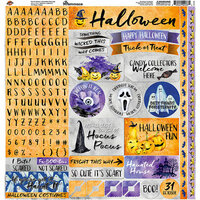 Reminisce - Watercolor Halloween Collection - 12 x 12 Cardstock Stickers - Alpha