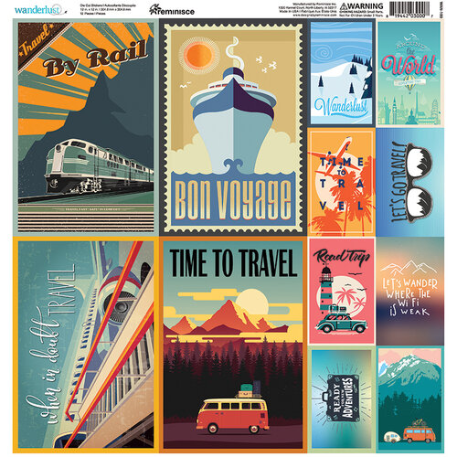 Reminisce - Wanderlust Collection - 12 x 12 Cardstock Stickers - Poster