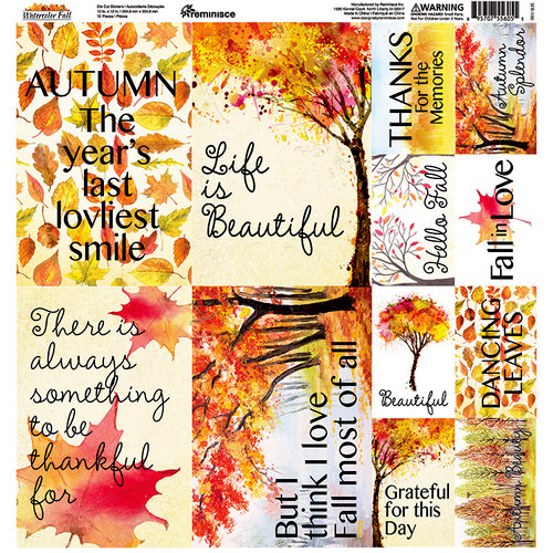 Reminisce - Watercolor Fall Collection - 12 x 12 Cardstock Stickers - Poster