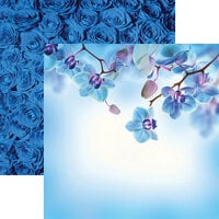 Reminisce - Wildflower Collection - 12 x 12 Double Sided Paper - Beautiful Blue Flowers