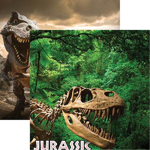 Reminisce - Worlds of Adventure Collection - 12 x 12 Double Sided Paper - Jurassic Adventure