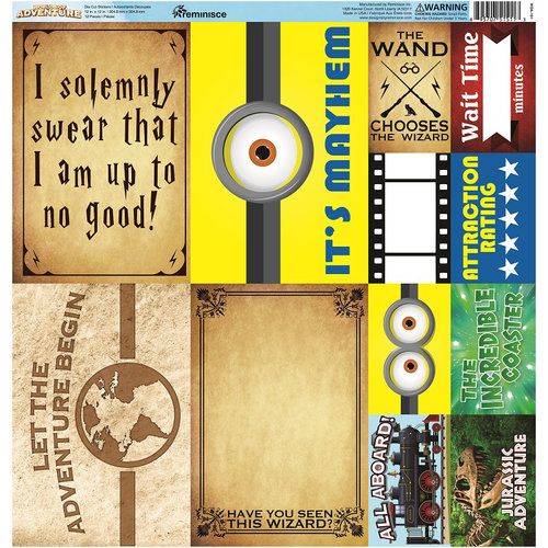 Reminisce - Worlds of Adventure Collection - 12 x 12 Cardstock Stickers - Poster