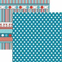 Reminisce - Wacky and Wild Collection - 12 x 12 Double Sided Paper - Blue Dot