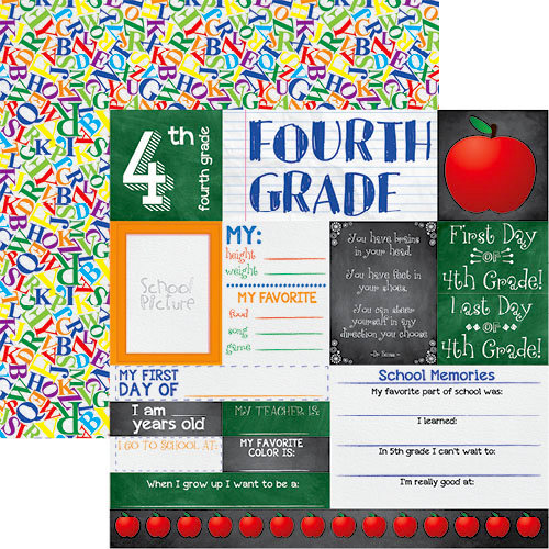 Reminisce - You've Been Schooled Collection - 12 x 12 Double Sided Paper - 4th Grade