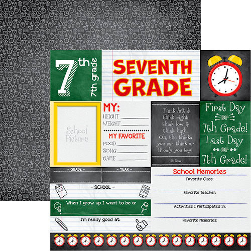 Reminisce - You've Been Schooled Collection - 12 x 12 Double Sided Paper - 7th Grade