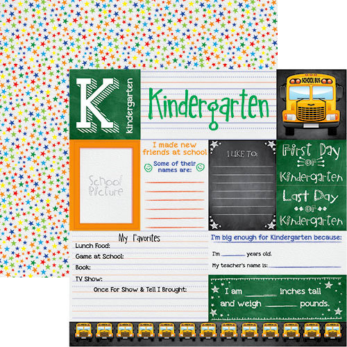 Reminisce - You've Been Schooled Collection - 12 x 12 Double Sided Paper -  Kindergarten