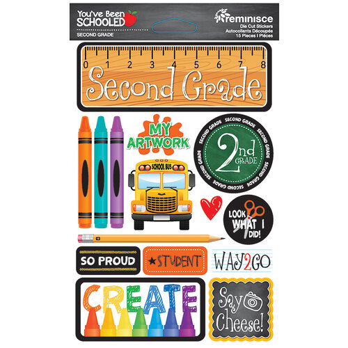 Reminisce - Youve Been Schooled Collection - 3D Cardstock Stickers - 2nd Grade