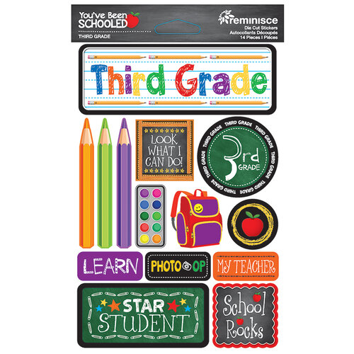 Reminisce - Youve Been Schooled Collection - 3D Cardstock Stickers - 3rd Grade