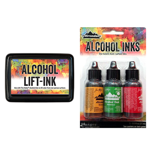 Ranger Ink - Tim Holtz - Alcohol Lift-Ink Pad and Alcohol Inks - 3 Pack - Conservatory