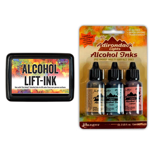 Ranger Ink - Tim Holtz - Alcohol Lift-Ink Pad and Alcohol Inks - 3 Pack - Lakeshore