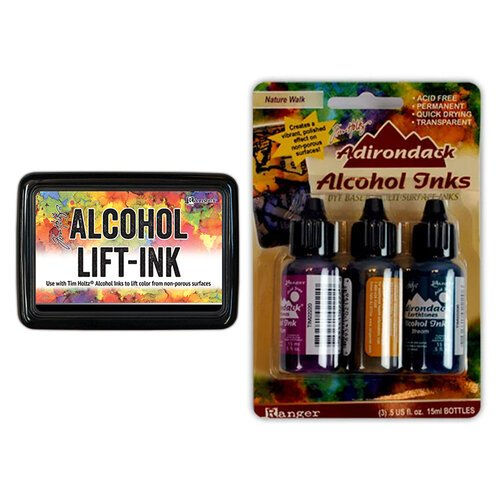 Ranger Ink - Tim Holtz - Alcohol Lift-Ink Pad and Alcohol Inks - 3 Pack - Nature Walk