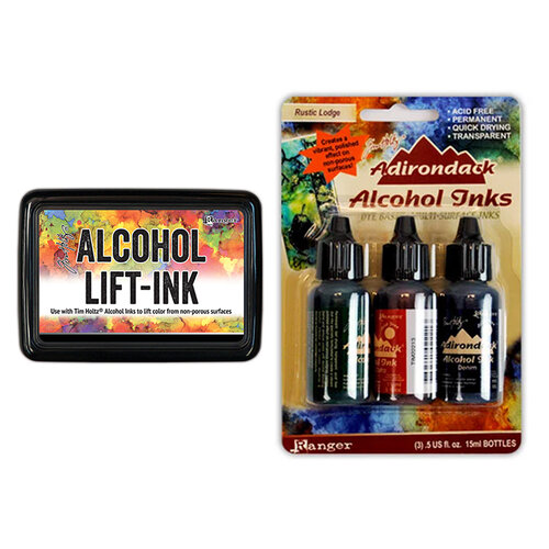 Ranger Ink - Tim Holtz - Alcohol Lift-Ink Pad and Alcohol Inks - 3 Pack - Rustic Lodge