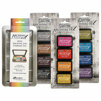 Ranger Ink - Tim Holtz - Mini Archival Ink Storage Tin with 12 Mini Distress Ink Pads