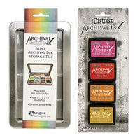 Ranger Ink - Tim Holtz - Mini Archival Ink Storage Tin with Mini Distress Ink Set One