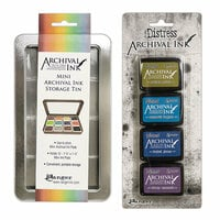 Ranger Ink - Tim Holtz - Mini Archival Ink Storage Tin with Mini Distress Ink Set Two