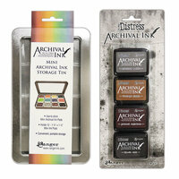 Ranger Ink - Tim Holtz - Mini Archival Ink Storage Tin with Mini Distress Ink Set Three