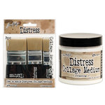 Ranger Ink - Tim Holtz - Distress Collage Brushes and Crazing Medium - 4 Pack Set