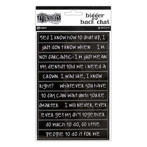 Ranger Ink - Dylusions Dyalog - Cardstock Stickers - Bigger Back Chat - Black
