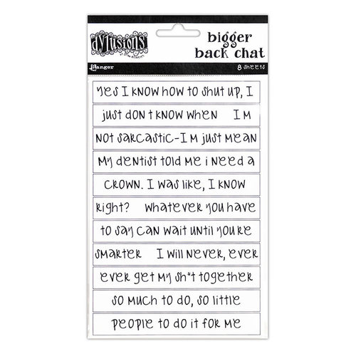 Ranger Ink - Dylusions Dyalog - Cardstock Stickers - Bigger Back Chat - White