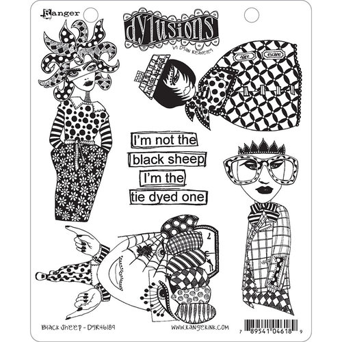 Ranger Ink - Dylusions Stamps - Unmounted Rubber Stamps - Black Sheep
