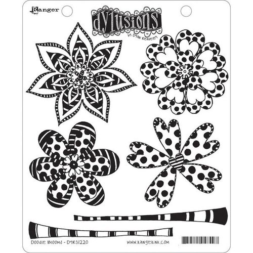 Ranger Ink - Dylusions Stamps - Unmounted Rubber Stamps - Doodle Blooms