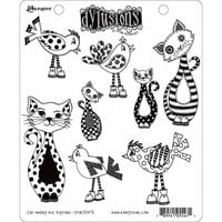 Ranger Ink - Dylusions Stamps - Unmounted Rubber Stamps - Cat Among the Pigeons