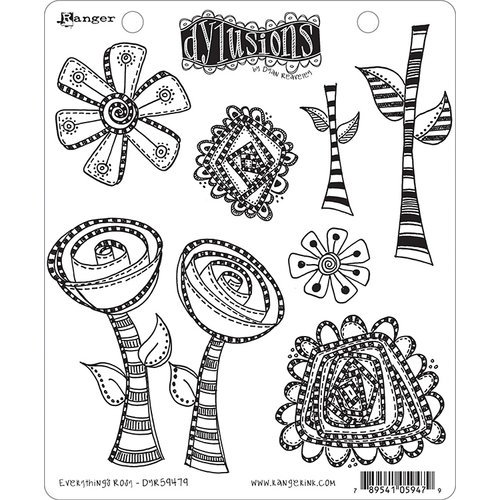 Ranger Ink - Dylusions Stamps - Unmounted Rubber Stamps - Everything's Rosy