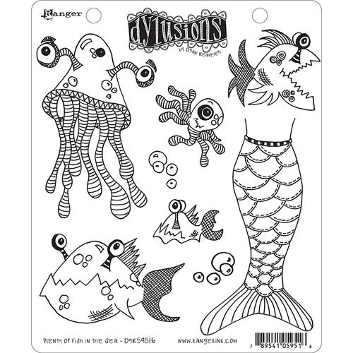 Ranger Ink - Dylusions Stamps - Unmounted Rubber Stamps - Plenty More Fish In the Sea