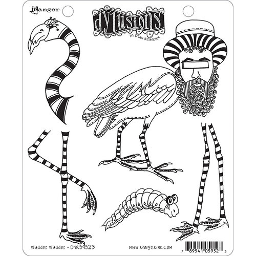 Ranger Ink - Dylusions Stamps - Unmounted Rubber Stamps - Waddle Waddle