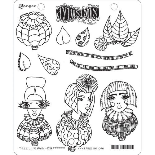 Ranger Ink - Dylusions Stamps - Unmounted Rubber Stamps - Three Little Maids