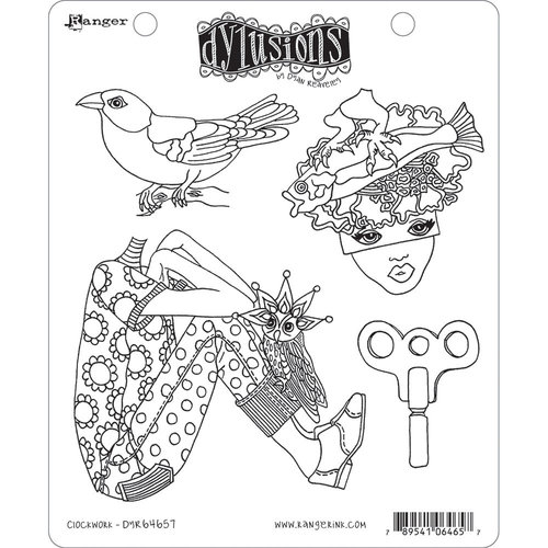 Ranger Ink - Dylusions Stamps - Unmounted Rubber Stamps - Clockwork