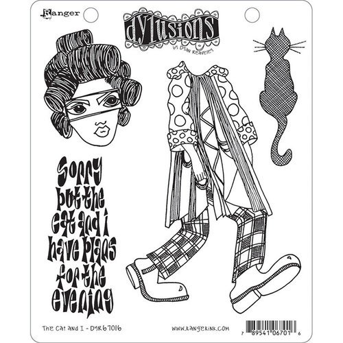 Ranger Ink - Dylusions Stamps - Cling Mounted Rubber Stamps - The Cat and I