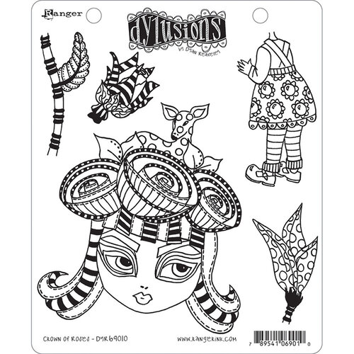 Ranger Ink - Dylusions Stamps - Unmounted Rubber Stamps - Crown of Roses