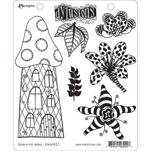 Ranger Ink - Dylusions Stamps - Unmounted Rubber Stamps - Down in the Woods