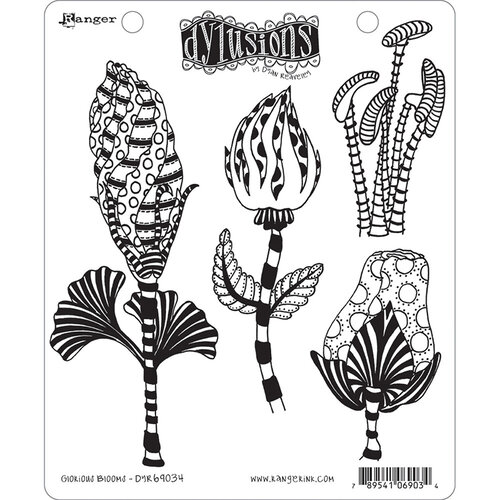 Ranger Ink - Dylusions Stamps - Unmounted Rubber Stamps - Glorious Blooms
